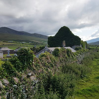 old church ruin and graveyard stradbally dingle peninsula Ireland