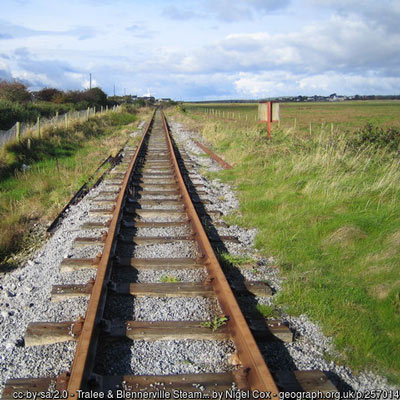 image of Tralee Dingle Railway track going towards Blennerville - photo by Nigel Cox