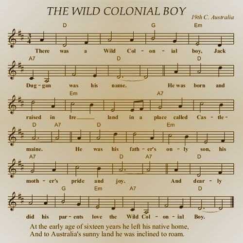 image of sheet music for wild colonial boy ballad